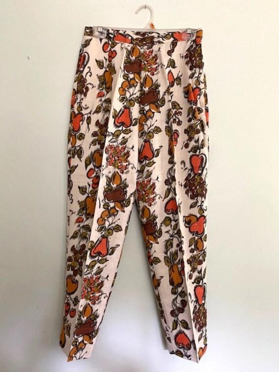 Vintage 1960s Floral Pattern Cigarette Pants | Hig