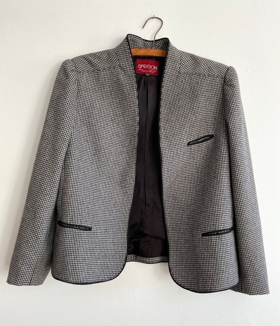 Vintage 80s SASSON Houndstooth Wool Blazer   Wome… - image 2