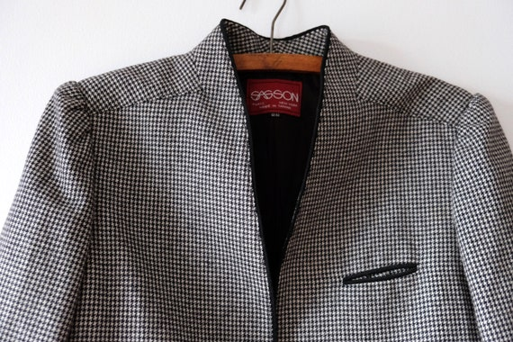 Vintage 80s SASSON Houndstooth Wool Blazer   Wome… - image 1