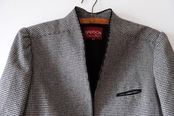 Vintage 80s SASSON Houndstooth Wool Blazer | Women