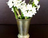 Vintage Classic Mint Julep Lassi Cup with Beaded Border Below Edge and Around Base. Made in India.