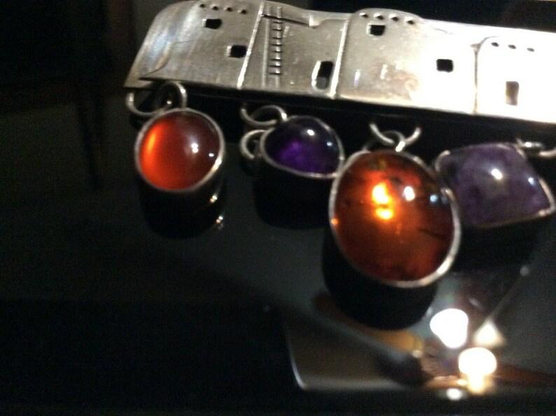 Precious Vintage NAKAI Sterling Silver  Gem Stones Navajo Brooch Pin 2.5 RARE