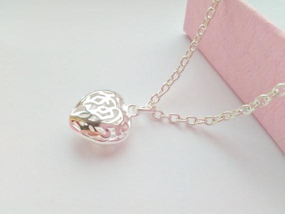 Small Heart Necklace Pendant Kids Jewellery Flower Girls | Etsy