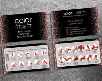 PRINTABLE Color Street Business Cards, Color Street Application Instruction Cards, How To Apply Color Street Nails - Digital Download CS08