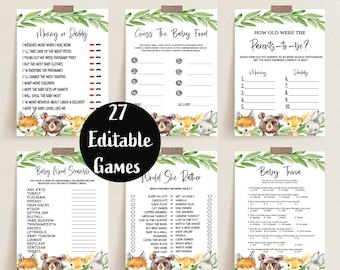 Baby Shower Games Bundle, Printable Baby Shower Game Pack, Woodland Greenery Animals Editable Games, Forest Animals Baby Shower Package