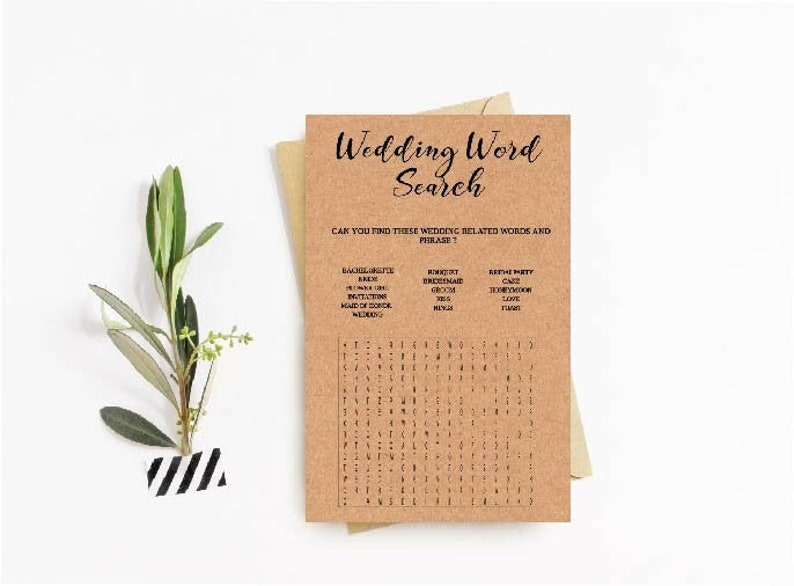 bride party Bridal Word Search marriage Rustic simple guessing game. Bridal Shower Game Instant download printable For wedding