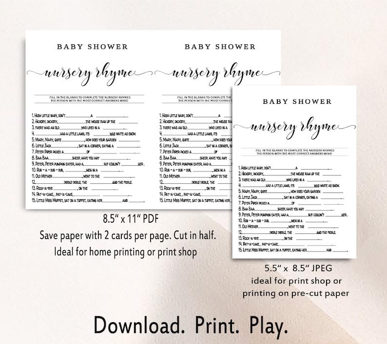 Gender Neutral Game Printable Game Baby Shower Nursery Rhyme Game Baby Shower Games Nursery Rhyme Game Instant Download