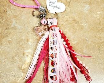 6 inch Pink and white owl ribbon tassel keychain/ StickersandMorebyLB/ Layla Blossoms