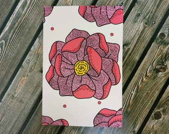 Falling Lines Flower lined matte paperback Notebook, journal/ StickersandMorebyLB/ Layla Blossoms