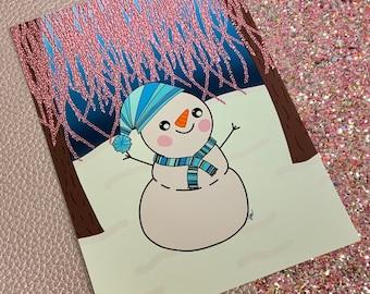 Glistening Melody Snowman / forest / Art Print/ Layla Blossoms/ StickersandMoreByLB/ Art Decor/ Home Decor