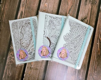 Hand Drawn leatherette journal/ Notebook/ Elastic Closure/ Inner Pocket/ Layla Blossoms/ StickerandMorebyLB