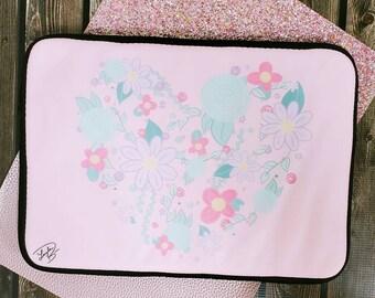 Floral heart Laptop Sleeve/ StickersandMorebyLB/ Layla Blossoms/ laptop case/ laptop cover/ tablet sleeve/ tablet case/ tablet cover