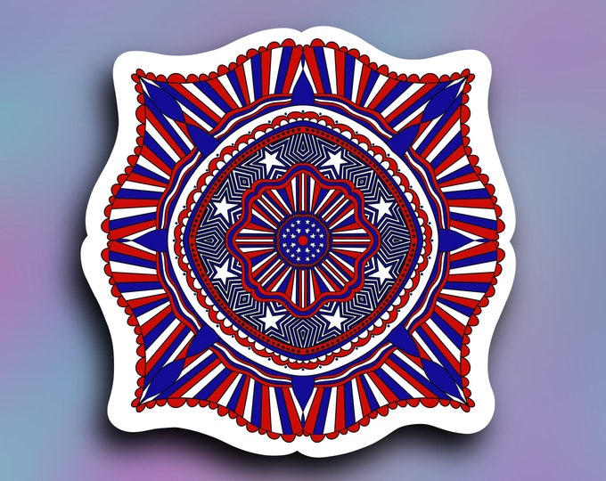Stars & stripes Mandala vinyl decal/ StickersandMorebyLB/ Layla Blossomsdecals for cars, tumblers, cups, laptops or walls/ weatherproof