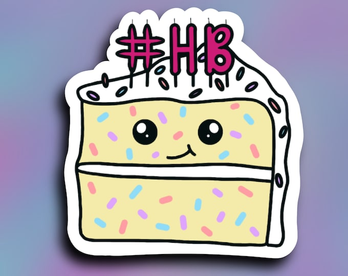 Happy birthday cake vinyl decal/ #HBD/ StickersandMorebyLB/ Layla Blossomsdecals for cars, tumblers, cups, laptops or walls/ weatherproof