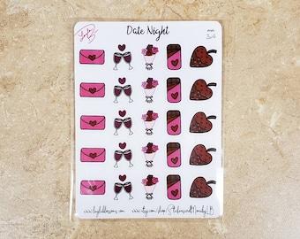 Date night planner stickers/ Sticker Sheet/ StickersandMorebyLB/ Layla Blossoms/ StickersandMorebyLB/ Layla Blossoms