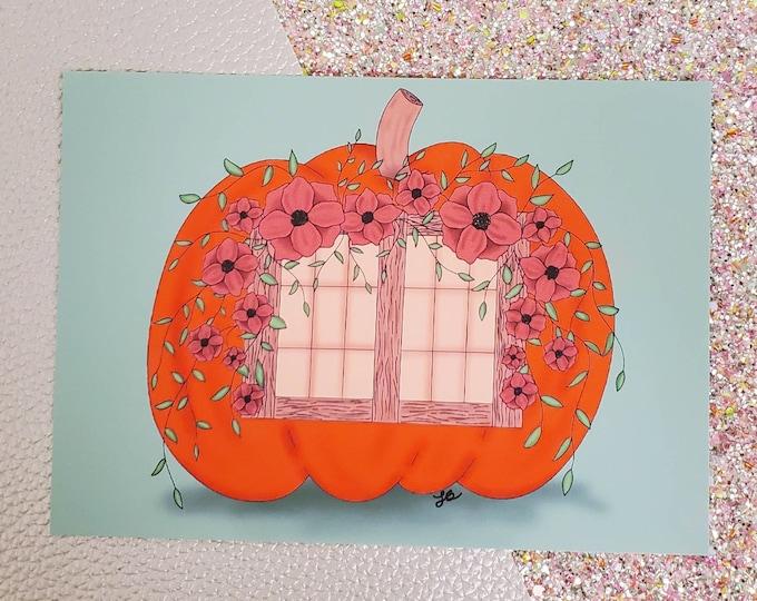 Pumpkin cottage Art Print/ Cottage core/ Layla Blossoms/ StickersandMoreByLB/ Art Decor