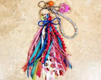 6 inch Multi bright colored owl tassel keychain/ StickersandMorebyLB/ Layla Blossoms