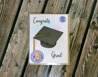 Congrats Grad card-  greeting card- StickerandMorebyLB/ StickersandMorebyLB/ Layla Blossoms