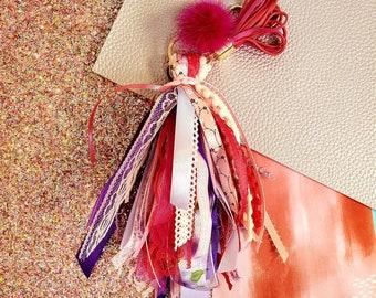 6 inch pink and purple ribbon tassel keychain/ StickersandMorebyLB/ Layla Blossoms
