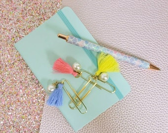 Tassel and pearl charm Paper Clips 3pc/ StickersandMorebyLB/ Layla Blossoms