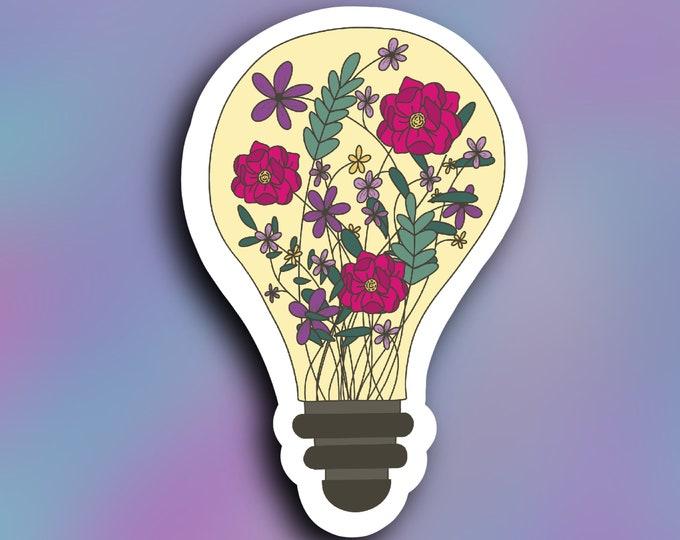 Floral light bulb vinyl decal, tumbler sticker, car decal, weatherproof/ StickersandMorebyLB/ Layla Blossoms/vinyl sticker