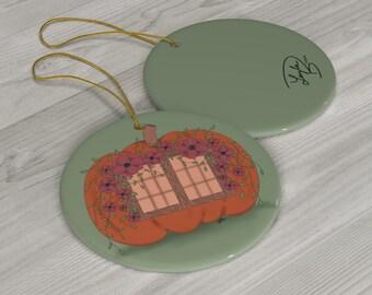 Pumpkin Cottage Ceramic Ornaments