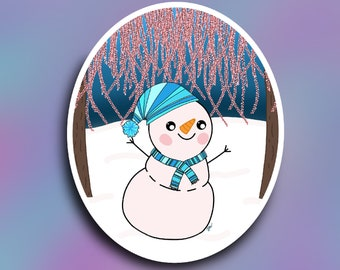 Glistening melody snowman vinyl decal/ StickersandMorebyLB/ Layla Blossomsdecals for cars, tumblers, cups, laptops or walls/ weatherproof