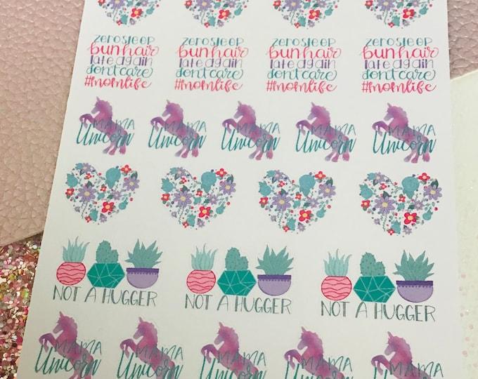 Mom life #momlife Planner Stickers / Sticker Sheet / StickersandMorebyLB/ StickersandMorebyLB/ Layla Blossoms
