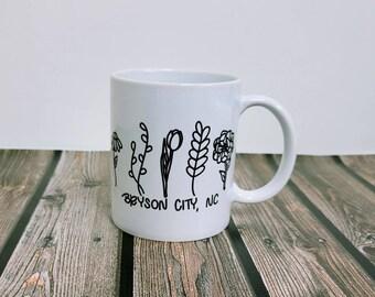 Floral Bryson city, NC 11 oz mug/ Ceramic Mug/ country/ southern/ StickersandMorebyLB/ Layla Blossoms/ Mug handmade/ Mug Art