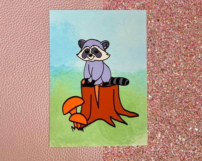 Woodland raccoon / Art Print/ Layla Blossoms/ StickersandMoreByLB/ Art Print/ Home Decor