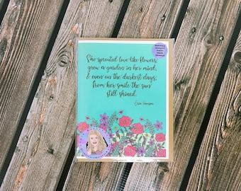 She sprouted love like flowers card-  greeting card- StickerandMorebyLB/ StickersandMorebyLB/ Layla Blossoms
