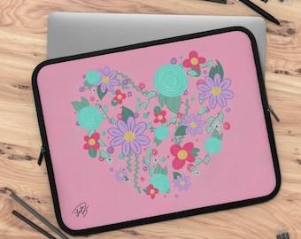 Floral heart Laptop Sleeve