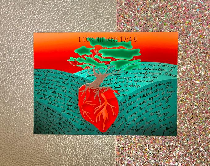 1 Corinthians 13:4-8 / Love grows / Art Print/ Layla Blossoms/ StickersandMoreByLB/ Art Decor/ Home Decor