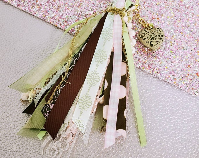 6 inch Pink and brown ribbon tassel keychain/ StickersandMorebyLB/ Layla Blossoms
