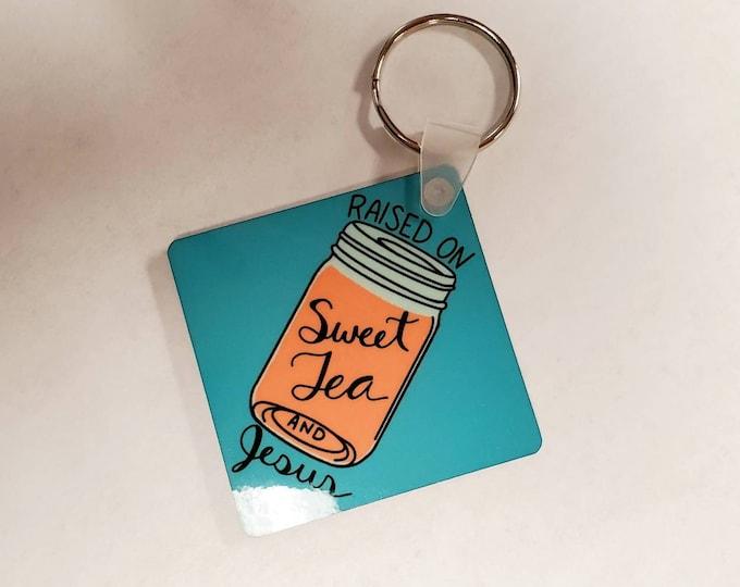 Sweet tea and Jesus keychain/ StickersandMorebyLB/ Layla Blossoms