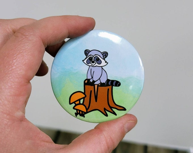 Woodland racoon 2.25 in button pin/ layla blossoms/ stickersandmorebylb