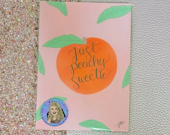 Just Peachy Sweetie Art Print/ Art Decor/ Layla Blossoms/ StickersandMoreByLB