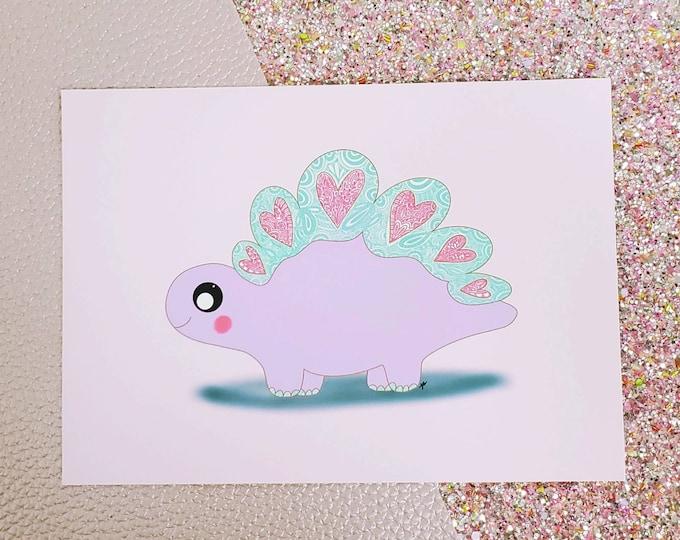 Love-asurus Art Print/ Dino/ Layla Blossoms/ StickersandMoreByLB/ Art Decor/ Home Decor