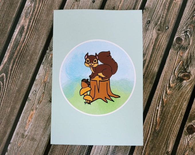 Squirrelly lined matte paperback Notebook, journal/ StickersandMorebyLB/ Layla Blossoms