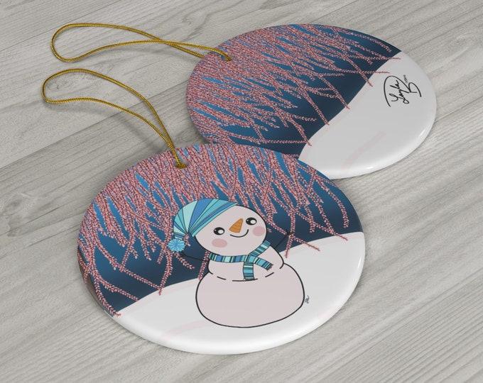 Glistening Melody Snowman Ceramic Ornaments