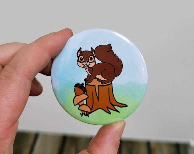 Woodland Squirrel 2.25 in button pin/ layla blossoms/ stickersandmorebylb