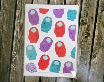 Ostomy A4 8 1 4x 11 3\4 leatherette journal/ Notebook/ Ribbon bookmark/ Layla Blossoms/ StickerandMorebyLB