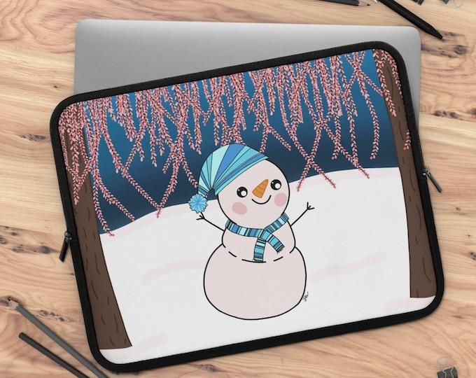 Glistening Melody Snowman Laptop Sleeve