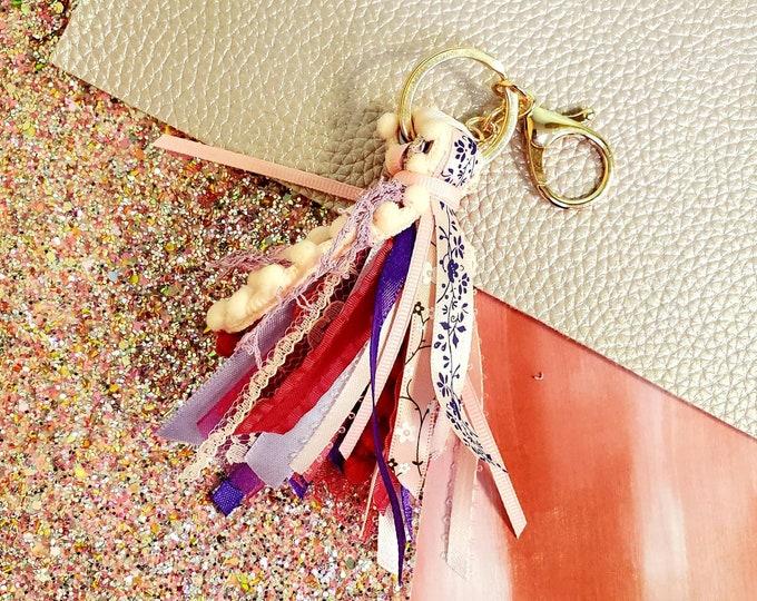 3 inch mini Pink and purple mini ribbon tassel keychain/ StickersandMorebyLB/ Layla Blossoms