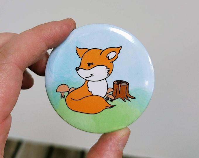 Woodland Fox 2.25 in button pin/ layla blossoms/ stickersandmorebylb