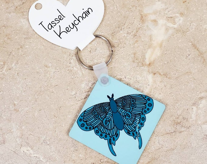 Moth double sided keychain/ StickersandMorebyLB/ Layla Blossoms