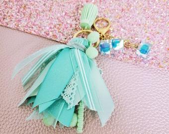 3 inch mini Mint ribbon tassel keychain/ StickersandMorebyLB/ Layla Blossoms