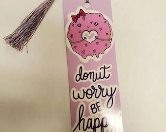 50% OFF SALE Donut worry bookmark (metal & cardstock option)/ StickersandMorebyLB/ Layla Blossoms