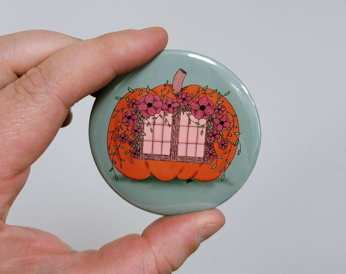 Pumpkin cottage 2.25 in button pin/ layla blossoms/ stickersandmorebylb