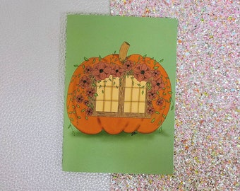 Pumpkin Cottage card- greeting card- StickerandMorebyLB/ StickersandMorebyLB/ Layla Blossoms